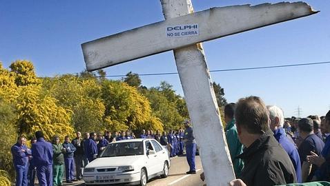 Protesta de los trabajadores de la fabrica de Delphi