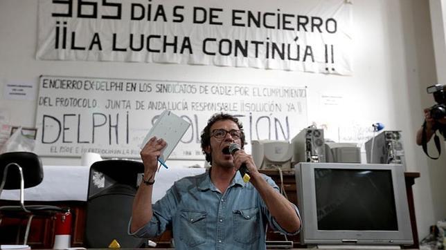 José María González, 'Kichi', durante la asamblea