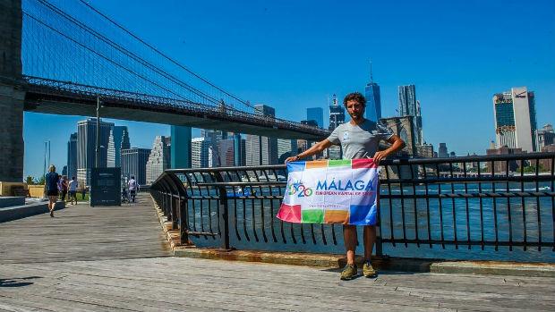 Christian Jongeneel en la isla de Manhattan