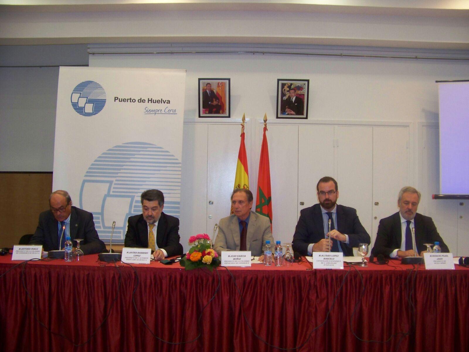 Representantes del Puerto de Huelva durante la presentación en Casablanca
