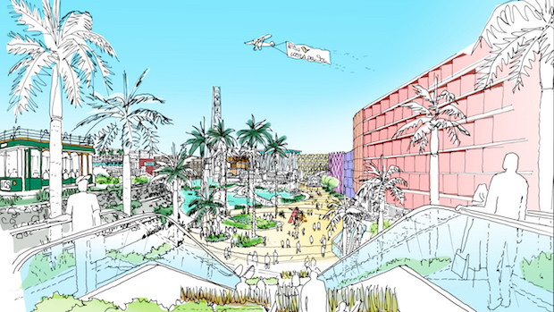 Boceto del centro comercial proyectado por Intu en Torremolinos