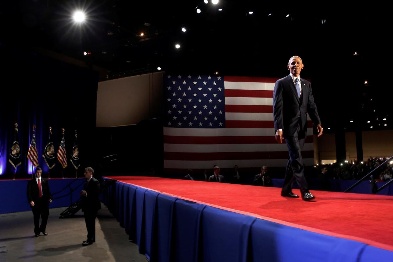 Obama durante el acto de despedida de la Presidencia celebrado en Chicago, Illinois
