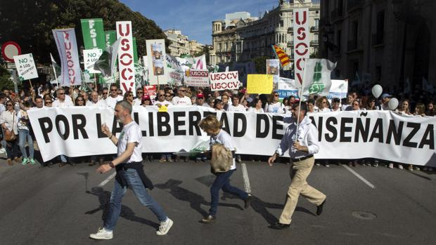 Imagen de la manifestación en defensa de la educación concertada en Valencia