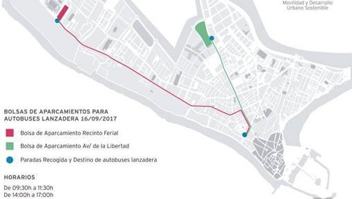 Mapa de las bolsas de aparcamiento y los buses lanzadera.