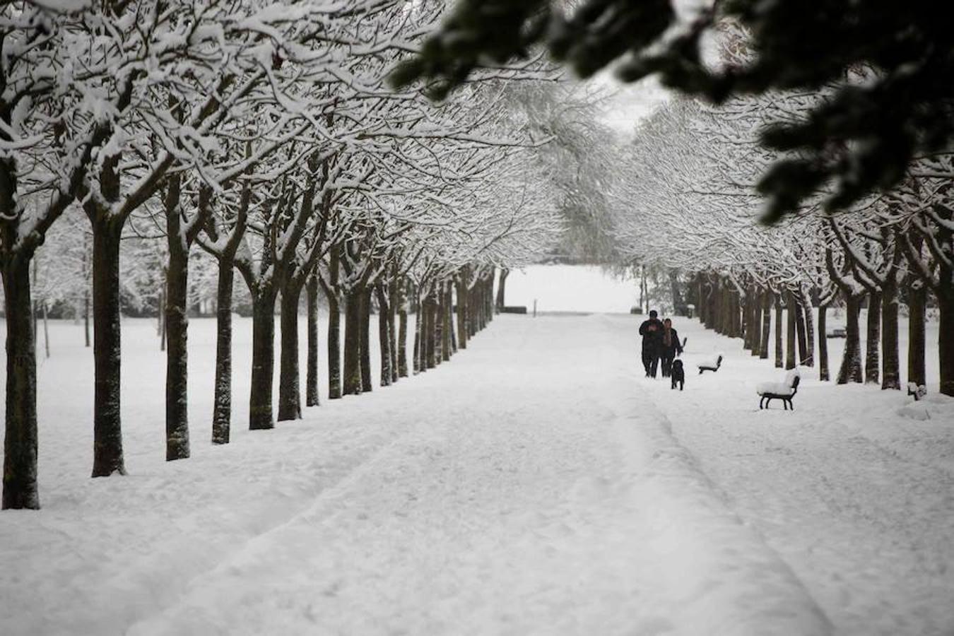 paseantes en el parque de Olarizu de Vitoria, que ha amanecido cubierta por la nieve