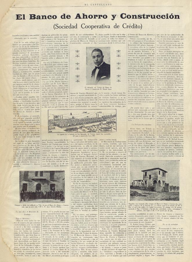 Publicidad del Banco de Ahorro y Construcción en El Castellano (1928) con el barrio en San Servando en Toledo. Archivo Municipal de Toledo.