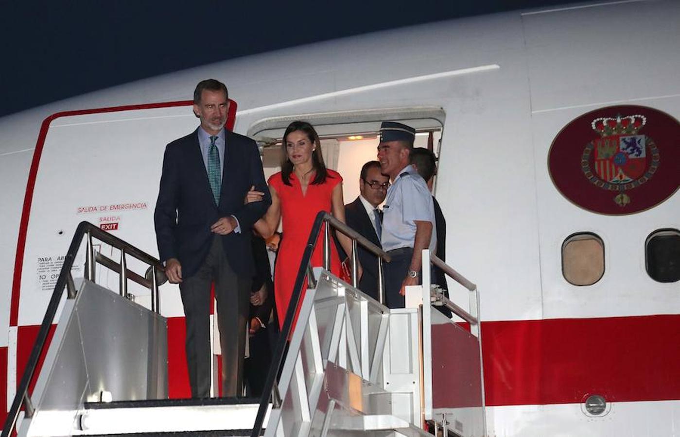 Los Reyes llegaron el jueves al aeropuerto internacional de Nueva Orleans (Estados Unidos)