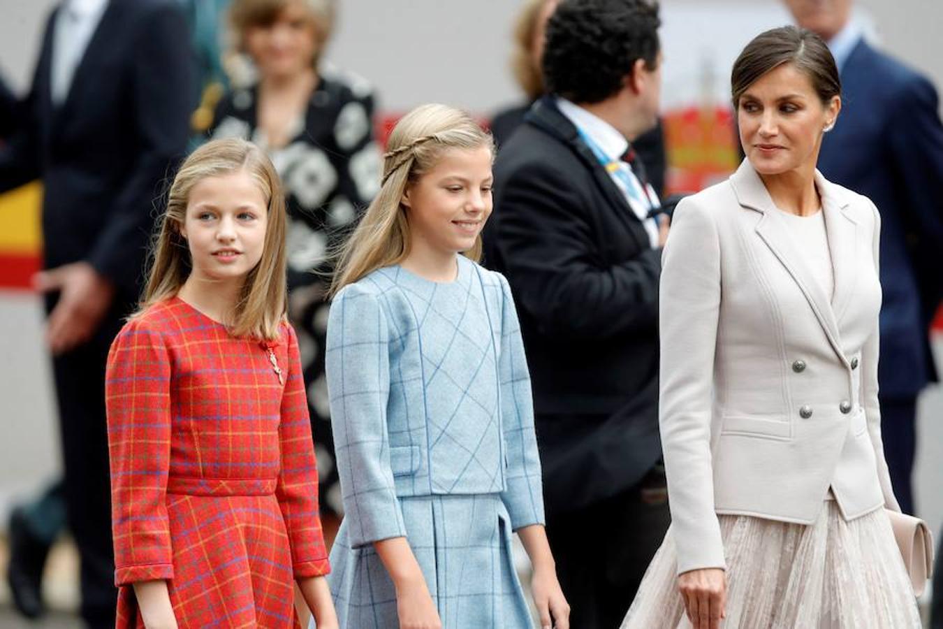La Reina, junto a la Princesa Leonor y la Infanta Sofía