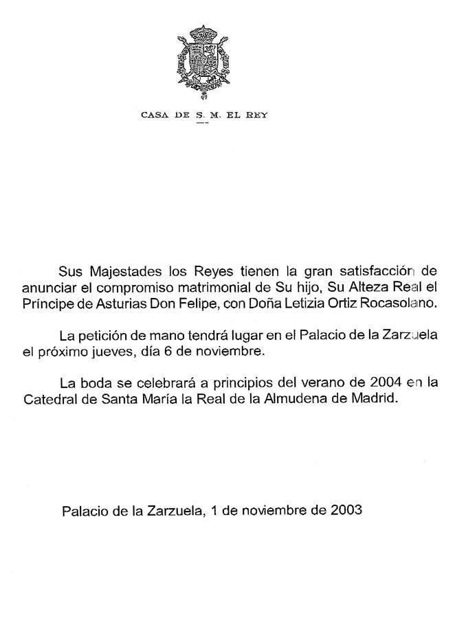 Sus Majestades los Reyes anunciaban a través de nota de prensa el enlace de su hijo menor, el Príncipe Felipe
