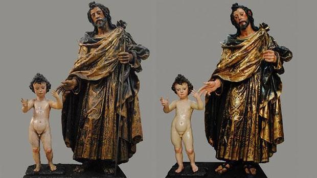 Grupo de San José con el Niño, antes y después de la restauración