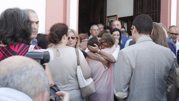 Susana Díaz, en un momento del entierro de la concejal María José Moros