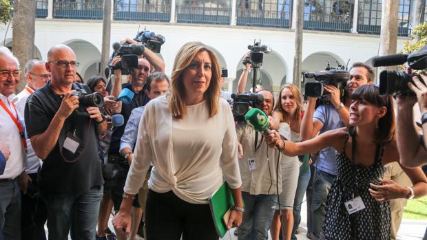 La presidenta de la Junta Susana Díaz, ayer en el Parlamento andaluz