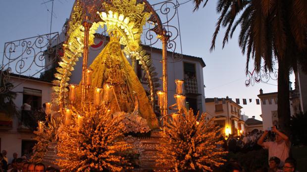 La Virgen de la Sierra de Cabra en la procesión de ayer