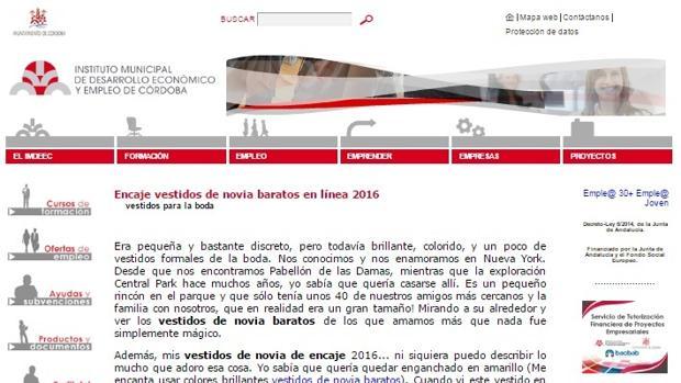 Captura de pantalla de la página web del Imdeec