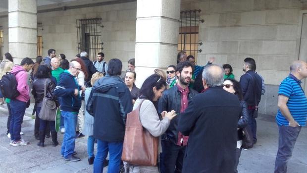 Moreno, durante la concentración en los juzgados el 16 de marzo
