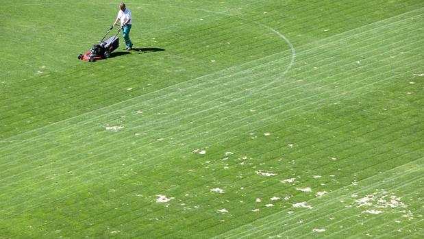 Huecos y tierras en el césped del estadio El Arcángel, este jueves