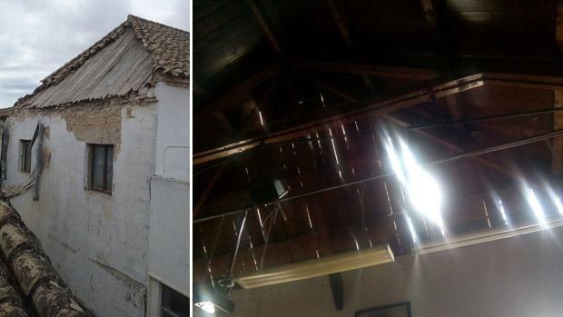 Los daños en la cubierta de la Escuela de Arte de Jerez