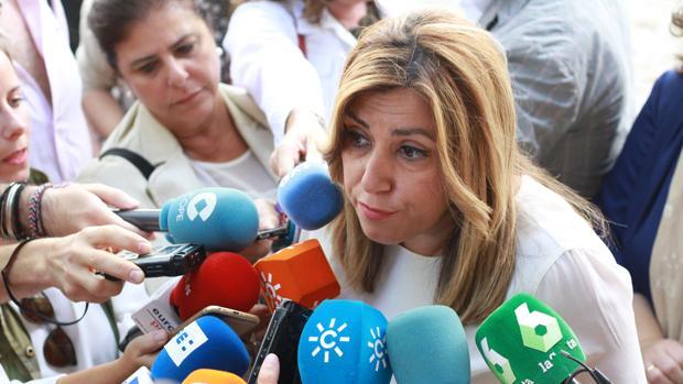 Susana Díaz, compareciendo ante los medios de comunicación