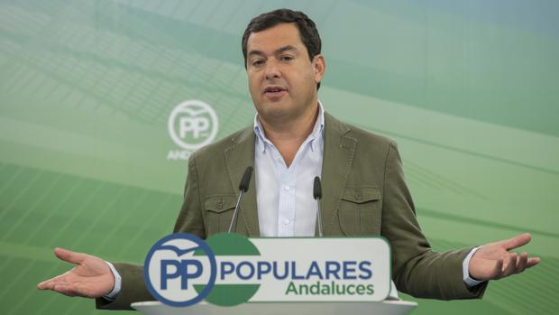El presidente del PP-A, Juanma Moreno, en un acto del partido