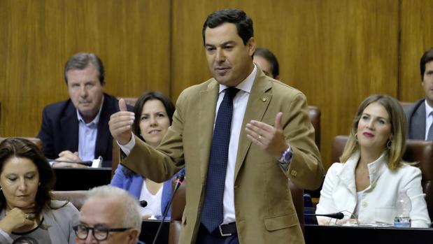 Juanma Moreno, durante la sesión de control en el Parlamento