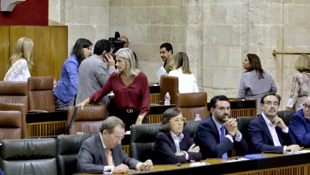 Miembros del Grupo Parlamentario del PP abandandonando el Pleno del Parlamento