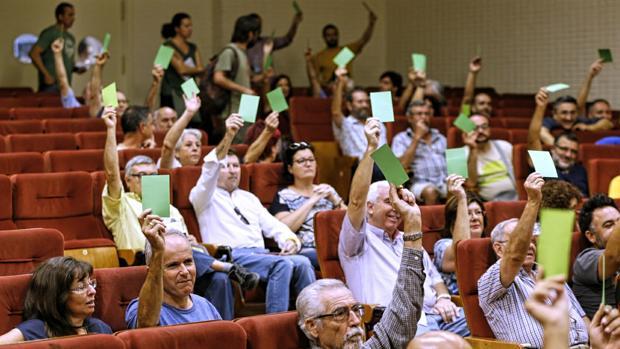 Un momento de la voptación celebrada durante la asamblea
