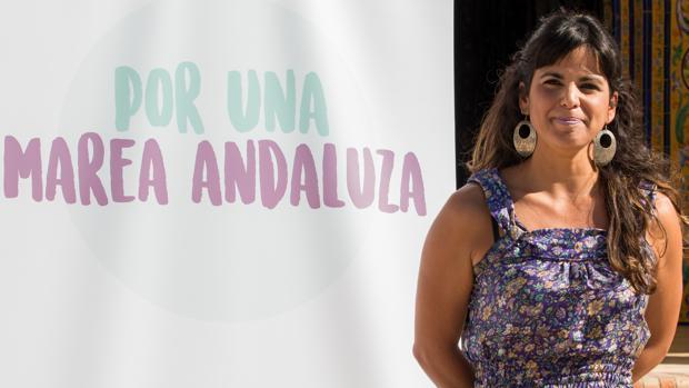La secretaria general de Podemos Andalucía, Teresa Rodríguez, presentando «Por una marea andaluza»