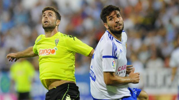 Rodri, autor del 0-1 del Córdoba CF ante el Zaragoza, en un momento del duelo en La Romareda