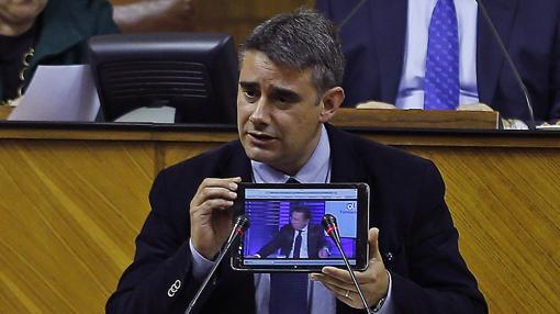 Moreno Yagüe, durante una intervención en el Pleno del Parlamento