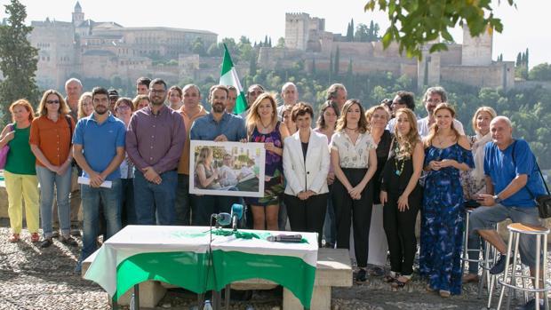 Representantes de «Ahora Andalucía», con parlamentarios, diputados y líderes orgánicos de Podemos