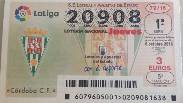 Uno de los décimos con el escudo del Córdoba CF