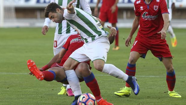 Rodri, en un instante del Numancia-Córdoba CF de esta tarde
