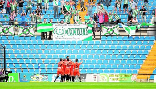 Celebración del gol ante el Hércules en el Rico Pérez