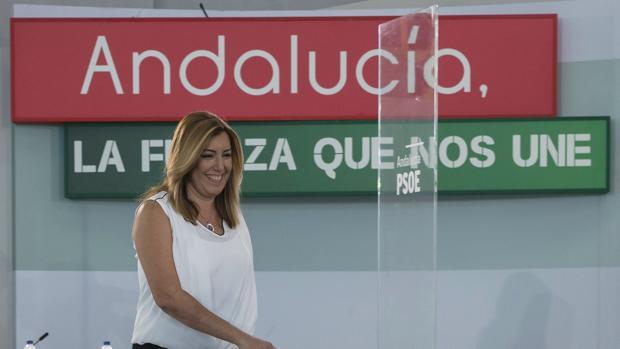 Susana Díaz durante el comité director del PSOE andaluz el pasado 29 septiembre