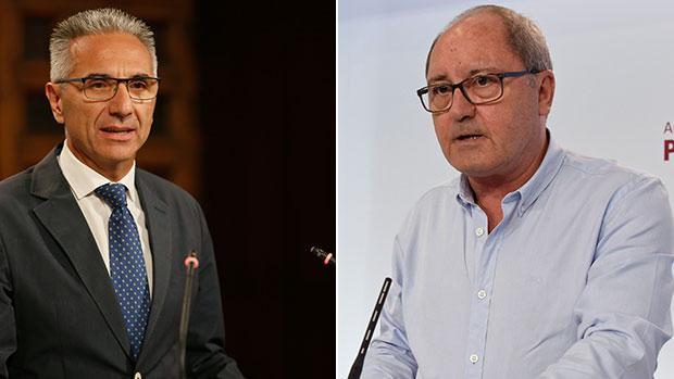 Miguel Ángel Vázquez, portavoz del Gobierno andaluz, y Juan Cornejo, número dos del PSOE regional
