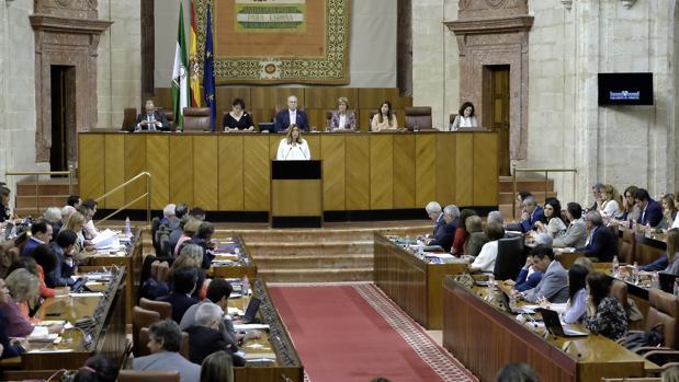 Susana Díaz, durante su discurso en el debate sobre el estado de la Comunidad