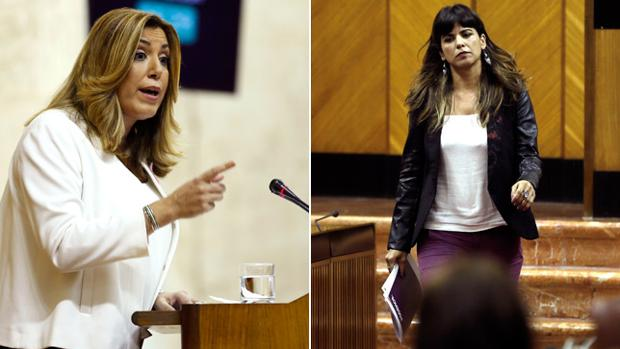 Susana Díaz y Teresa Rodríguez durante el debate