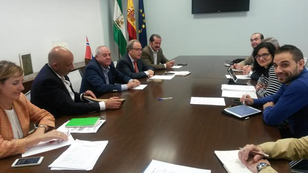 La delegada de Infraestructuras, Amparo Pernichi, junto a los miembros de la mesa de Ceco