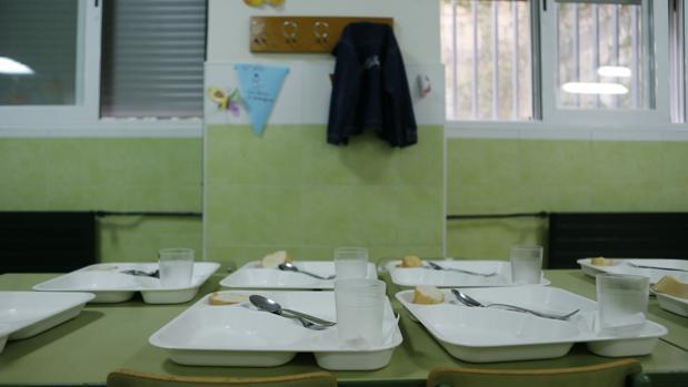 Platos preparados en un comedor escolar