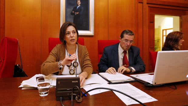 Ambrosio y Lavela en el salón de plenos municipal