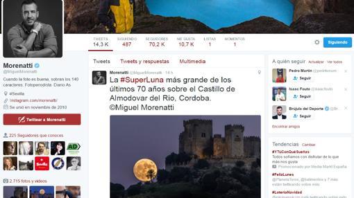 Captura de pantalla del perfil de Twitter del fotógrafo