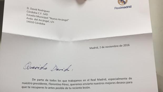 La carta del Real Madrid que ha recibido Deivid, central del Córdoba CF