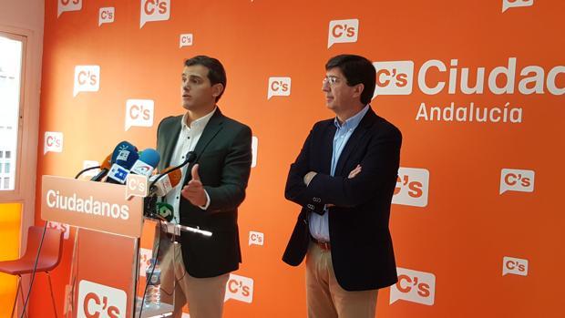 Albert Rivera junto a Juan Marín en la nueva sede de Ciudadanos en Andalucía