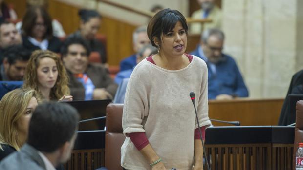 Teresa Rodríguez, en el Parlamento de Andalucía