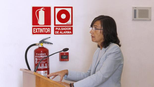 Rosa Aguilar, durante una reunión sobre el C4