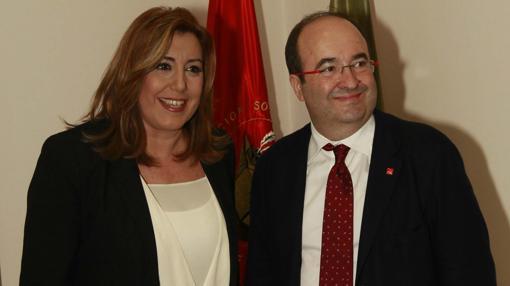 Susana Díaz y Miquel Iceta, reunidos este jueves en la sede del PSOE andaluz