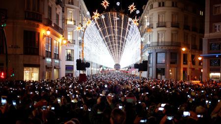 Inauguración del alumbrado en la calle Larios de Málaga
