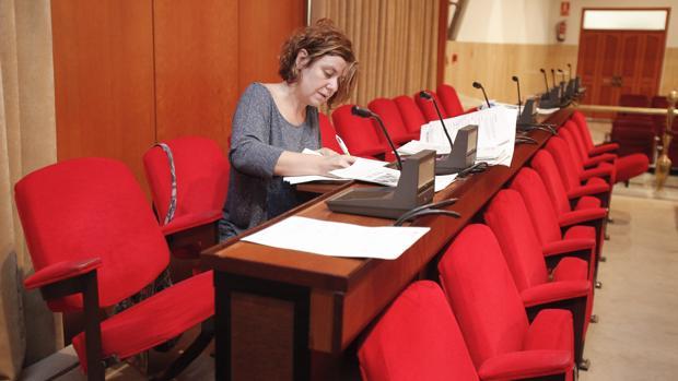 La delegada de Hacienda, Alba Doblas, revisa documentación antes de un Pleno
