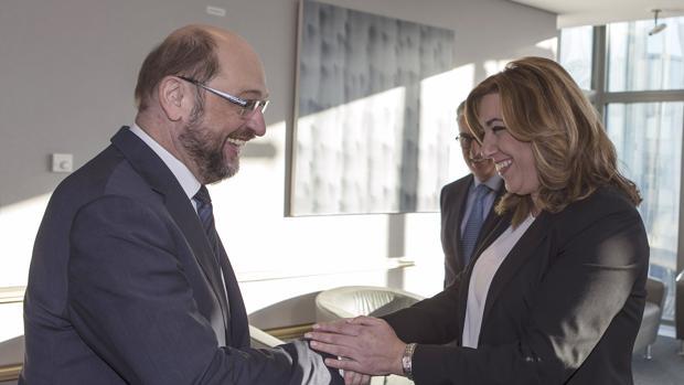La presidenta de la Junta de Andalucía, Susana Díaz y el presidente del Parlamento Europeo, Martin Schulz