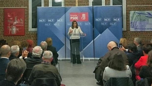 Susana Díaz se dirige a los militantes y simpatizantes de la agrupación del PSOE en Bruselas